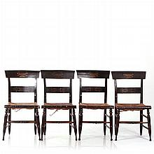 A Set of Four Hitchcock Style Painted Hardwood Side Chairs with Rush Seats and Stenciled Decorations, 19th Century.