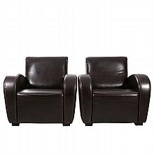 A Pair of Contemporary Leather Club Chairs, 20th Century.