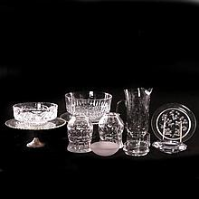 A Miscellaneous Collection of Cut, Etched and Clear Glass Serving and Decorative Items, 20th Century.