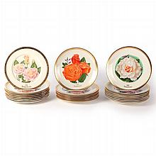 A Collection of Twenty-Four All American Rose Selection Porcelain Plates by Gorham, 20th Century.