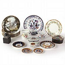 A Miscellaneous Collection of Porcelain Plates, Boxes and Serving Items, 20th Century,