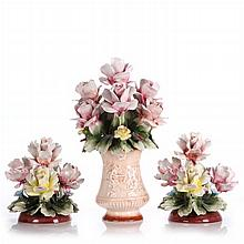 A Group of Three Capodimonte Porcelain Floral Form Bouquets, 20th Century.