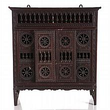 A Moorish Style Miniature Carved Walnut Cabinet, 19th/20th Century,