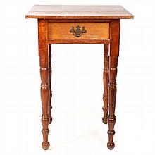 An American Cherry Single Drawer Side Table, 19th Century.