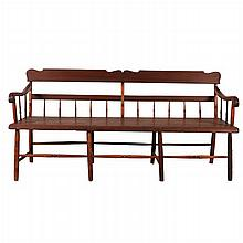 An American Pine Long Bench, 19th Century.