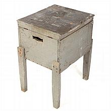 A Vintage Painted Hardwood Lidded Crate Side Table, 20th Century,