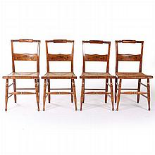 A Set of Four Hitchcock Style Painted Side Chairs with Rush Seats and Stenciled Decorations, 20th Century.
