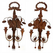 A Pair of Empire Style Carved Walnut Two Arm Wall Sconces, 20th Century.