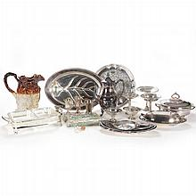 A Miscellaneous Collection of Sterling Silver, Silver Plate and Stoneware Decorative Items, 19th/20th Century.