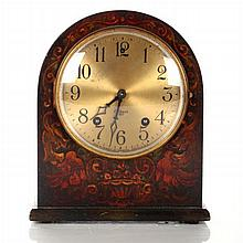 A Gilbert Painted Hardwood Mantle Clock, 20th Century.