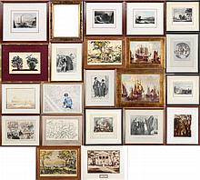 A Miscellaneous Collection of Twenty-One Framed Prints, Engravings and Etchings, 20th Century.