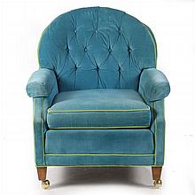 A Contemporary Velvet Upholstered Club Chair, 20th Century.