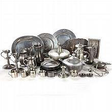 A Miscellaneous Collection of Pewter Decorative and Serving Items, 19th/20th Century.