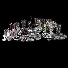 A Miscellaneous Collection of Cut, Etched and Color Crystal and Glass Decorative and Serving Items, 20th Century,