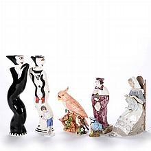 A Miscellaneous Collection of Porcelain Figural and Animal Form Decorative Items, 20th Century,