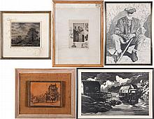A Collection of Five Etchings and Original Drawings by Various Artists, 20th Century,