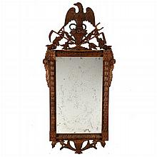 An Empire Style Carved Walnut Mirror, 20th Century,