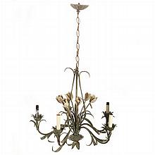 A French Provincial Style Wrought Metal Five Light Chandelier, 20th Century.