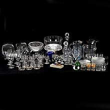 A Miscellaneous Collection of Cut, Molded, Pressed, Colored and Clear Glass Serving and Decorative Items, 20th Century,