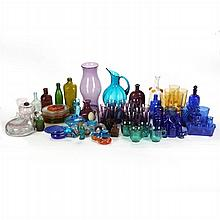 A Miscellaneous Collection of Colored Glass Decorative and Serving Items, 20th Century.