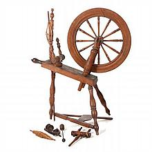 An American Stained Oak Spinning Wheel, 19th/20th Century.