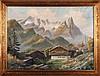 Artist Unknown (20th Century) Alpine Scene, Oil on canvas,