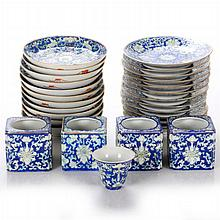 A Collection of Asian Porcelain Plates and Ink Wells, 19th/20th Century,