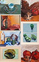 Mark David Gottsegen (1948-2013) Seven Works Depicting Still Lifes, Acrylic on board and canvas,