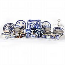 A Miscellaneous Collection of Blue Willow Porcelain Decorative and Serving Items, 20th Century,