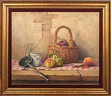 Robert Chailloux (1913-2006) Still Life with Basket, Oil on canvas,