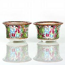 A Pair of Diminutive Chinese Famille Rose Mandarin Pattern Porcelain Jardinieres, Early 19th Century.