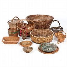 A Miscellaneous Collection of American and Continental Woven Baskets, 19th/20th Century.