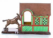 A Cast Iron Mule Entering Barn Mechanical Bank Manufactured by J. & E. Stevens Co., ca. 1880,