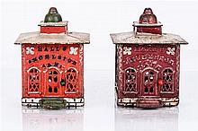 A Pair of Cast Iron and Wood Hall's Excelsior Mechanical Banks Manufactured by J. & E. Stevens Co., ca. 1869,