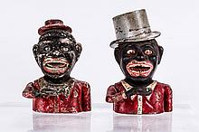 A Cast Iron Jolly N (High Hat and Round Holes) Mechanical Bank Manufactured by Sydenham & McOustra, ca. 1910,