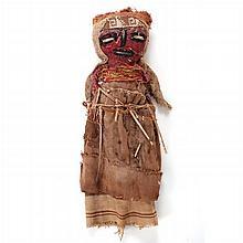 A Peruvian Woven Fiber Burial Doll, 20th Century.