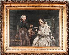 Italian School (19th Century) Interior Scene with Bishop and Peasant Woman, Oil on canvas,