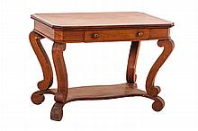 An American Empire Walnut Library Table, 19th Century.