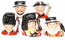A Collection of Five Royal Doulton Porcelain Character Jug, 20th Century,
