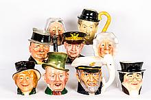 A Collection of Nine Porcelain Character Jugs by Various Makers, 20th Century,