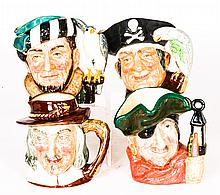 A Collection of Four Royal Doulton Porcelain Character Jugs, 20th Century,