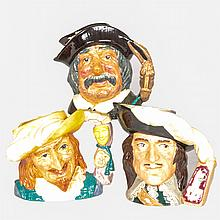 A Collection of Three Royal Doulton Porcelain Character Jugs, 20th Century,