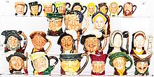 A Collection of Twenty-Four Diminutive Royal Doulton Porcelain Character Jugs, 20th Century,