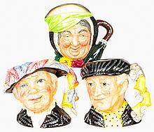 A Collection of Three Royal Doulton Character Jugs, 20th Century,