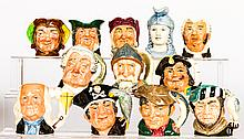 A Collection of Twelve Diminutive Royal Doulton Character Jugs, 20th Century,