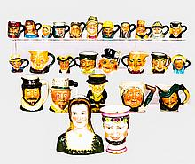 A Collection of Twenty-Six Diminutive Porcelain Character Jugs by Various Makers, 20th Century,