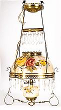 A Victorian Painted and Clear Glass and Brass Hanging Oil Lamp Light Fixture, 20th Century.