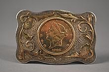 $20 Gold Coin set into Gold & Silver Buckle Coin is from 1905.
