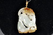 Carved Jade Horse Pendant with 18k. Gold Clasp Size : 2 5/8
