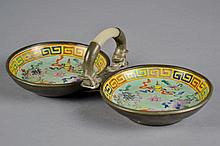 Pair of 19c Chinese Plates in Pewter Frame w/ Jade A Jade handle